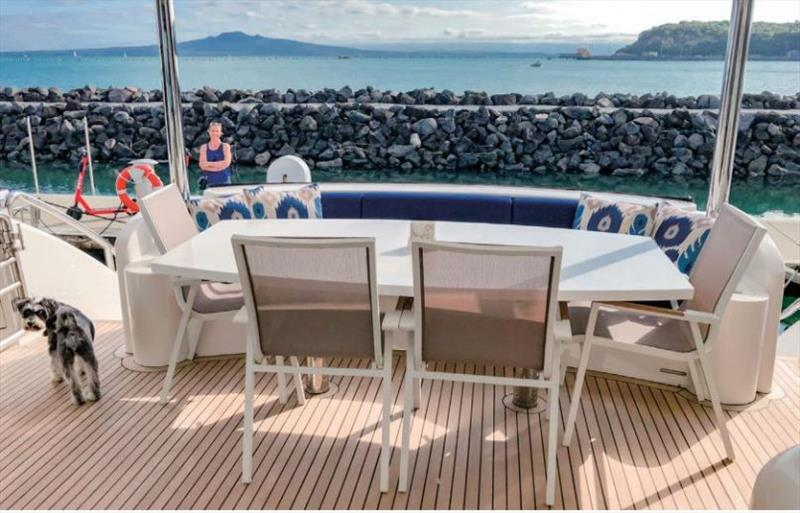 Enjoying the view from Enigma's aft deck. - photo © Horizon Yachts
