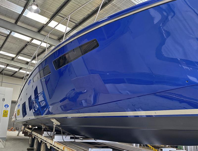 Topsides of the new Cape50 painted by Steve Campbell himself. - photo © Composites Constructions