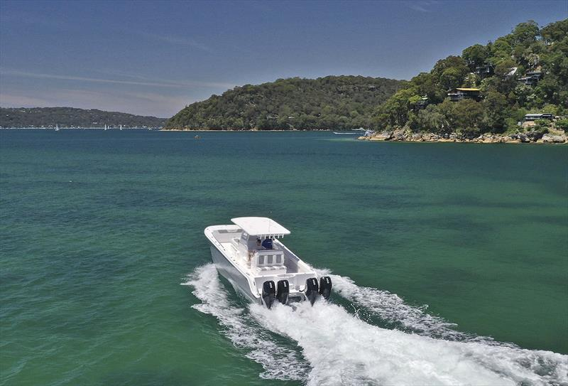 Running down Pittwater in the first Invincible 35 Powercat in Australia - photo © Boat Monster