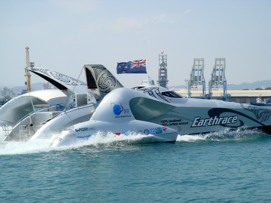 Earthrace flies the NZL flag - Sagunto Spain - after breaking Round the World Record © Earthrace Media http://www.earthrace.net