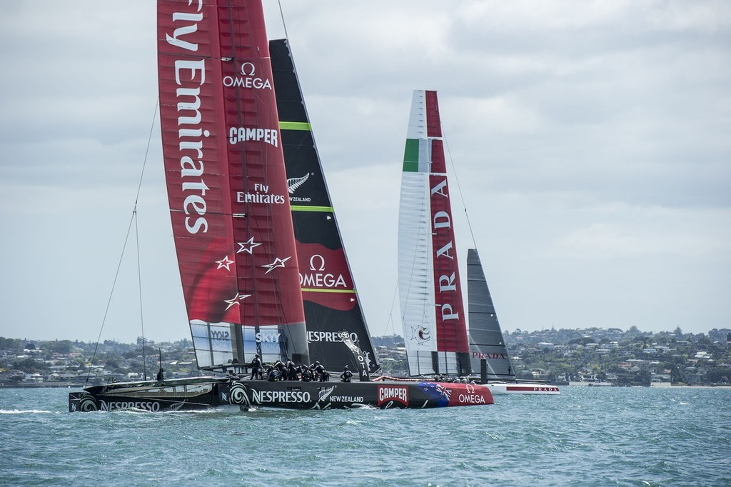 Luna Rossa and Emirates Team New Zealand in the first race between AC72s © Chris Cameron/ETNZ http://www.chriscameron.co.nz
