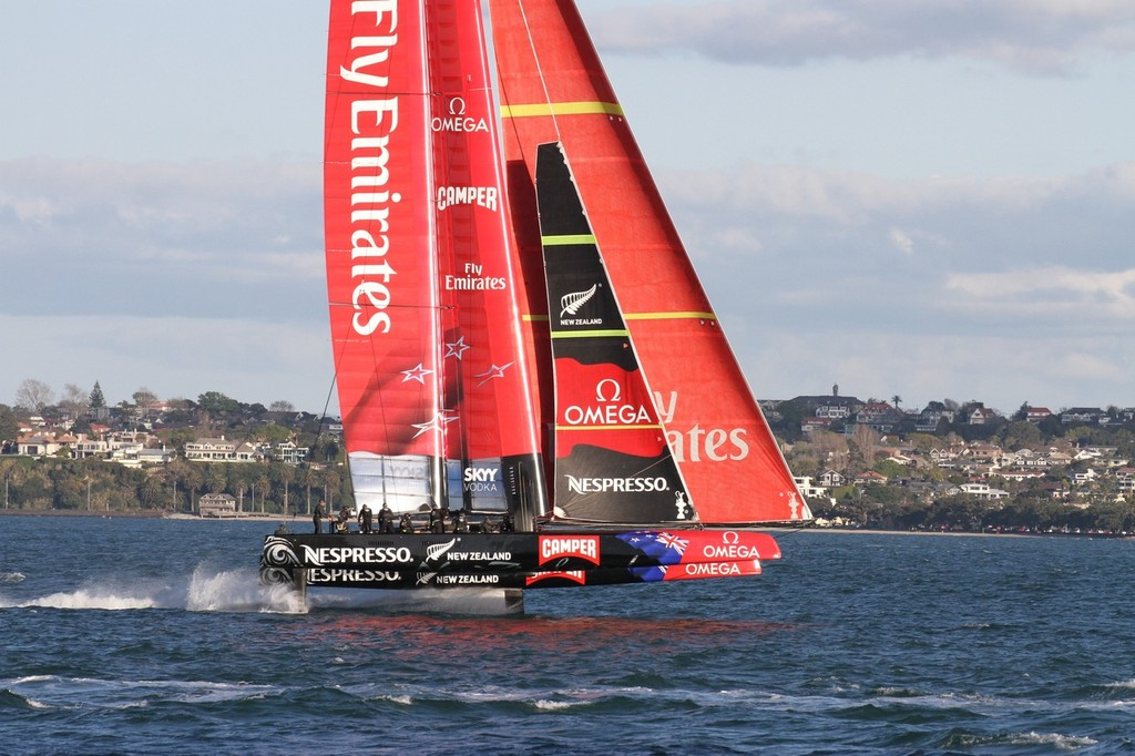 Emirates Team NZ goes foiling past North Head © Richard Gladwell www.photosport.co.nz