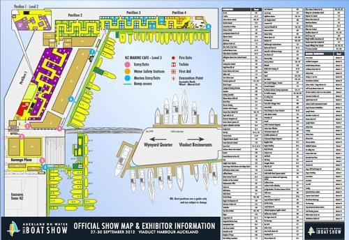 Auckland on Water Boat Show site map - 2012 Auckland on Water Boat Show ©  SW