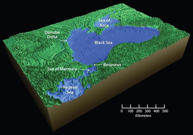 The breach of the Bosporus sill connected the Black Sea to the Sea of Marmara and the world ocean. As glaciers melted and global sea levels began to rise, the Black Sea also rose, bringing it to its present day level. © Jack Cook / WHOI http://www.whoi.edu/