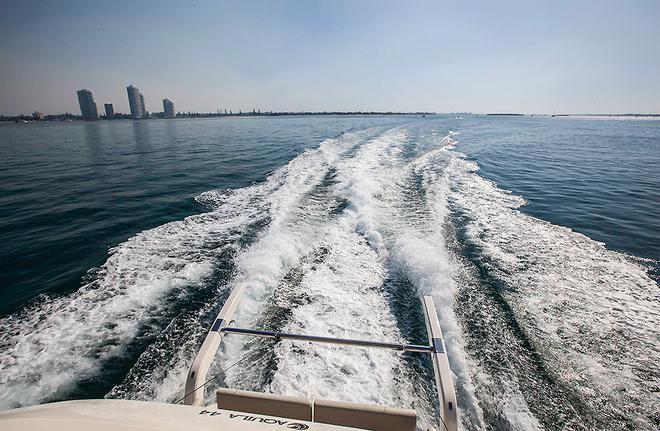 Despite her mass, the Aquila 44 can turn on a good amount of speed when required. ©  John Curnow