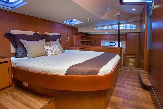 Running completely athwartships, the Owner's Stateroom is huge © Multihull Central