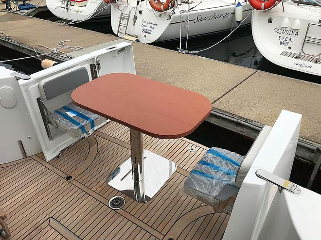Taking outdoor dining to the next level. Our test boat was brand new with plastic on seats and so forth. but the adaptability of the craft is obvious. © John Curnow