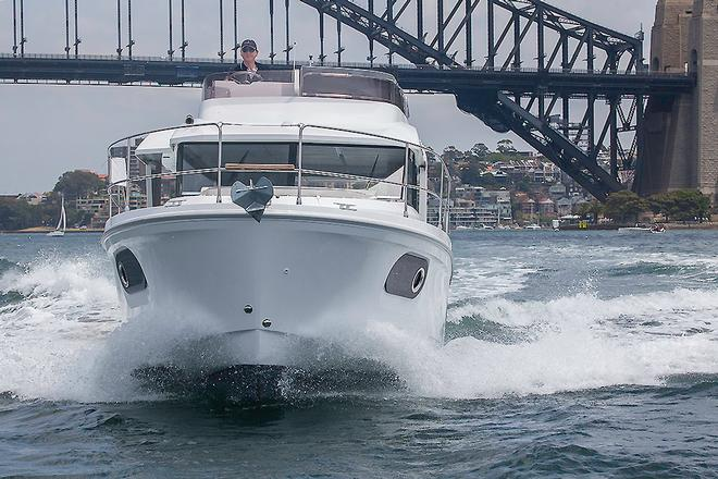 Coming right at you, and you can see the brilliant vision on offer with the Beneteau Swift Trawler 30. © John Curnow