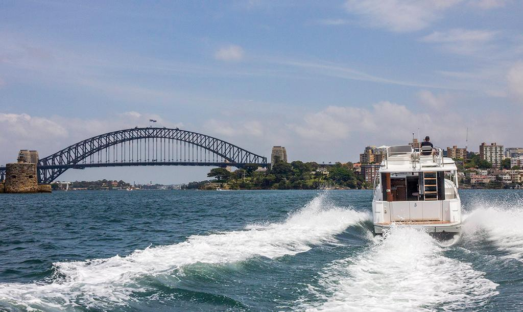 Taking off at just over 20 knots in the Beneteau Swift Trawler 30 © John Curnow