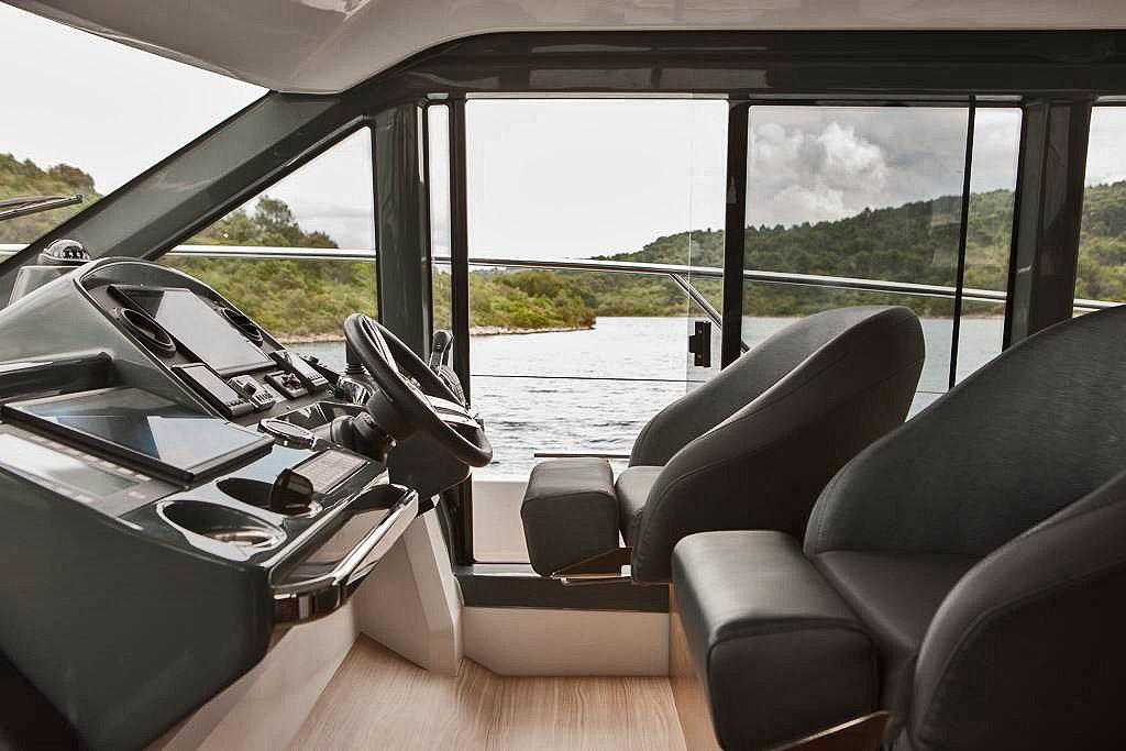 Lower helm station of Bavaria's R40 reflects the very modern flavour of the entire vessel. © Bavaria Yachts Australia http://www.bavariasail.com.au