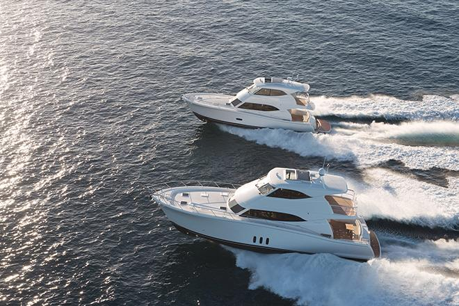 The Maritimo M64 and M54 cruising motor yachts at sea © Promedia