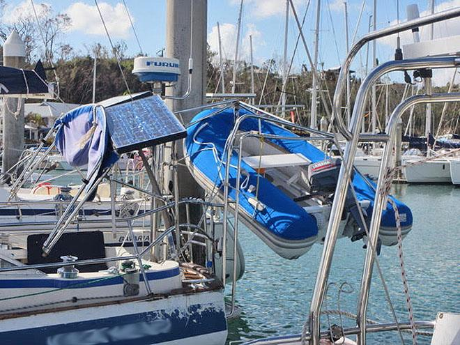 Davits, pushpit, solar panel all affected by the swinging dinghy and other things. ©  SW