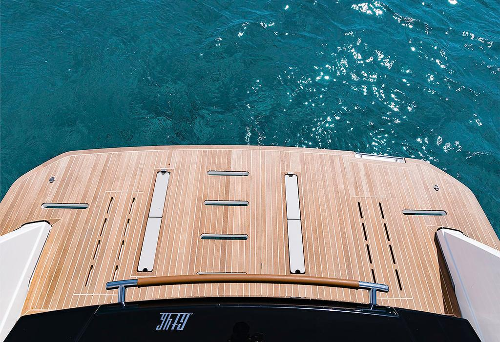 Hydraulic swim platform of the GT46 up. Photo Credit: Nicolas Claris © Beneteau http://www.beneteau.com/