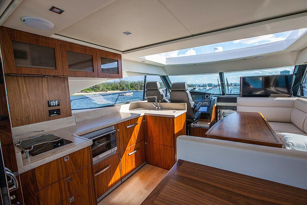 Galley is not only easily accessible, it features all you will ever need to prepare meals for all your family and friends. - Riviera 4800 Sport Yacht ©  John Curnow