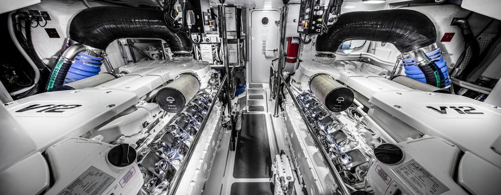 Riviera Sports Motor Yacht - The imposing full head height engine room with twin MAN V12 1550 turbo diesel engines. © Riviera Australia