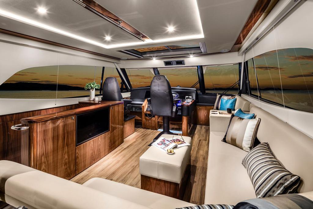 Riviera Sports Motor Yacht - The command centre, a spacious and luxurious fully enclosed flybridge. © Riviera Australia