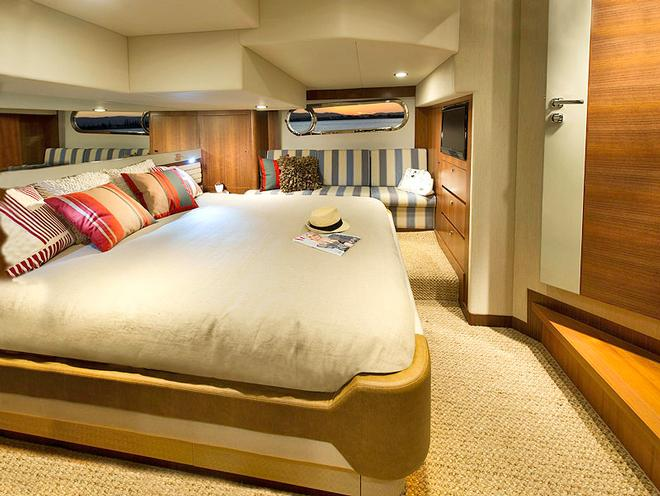 Master Stateroom runs athwartship and is amidships - Belize 54 Daybridge © Riviera . http://www.riviera.com.au