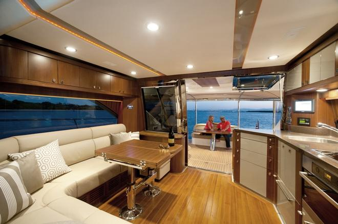 The saloon of the Belize 54 Daybridge is an elegant blend of luxury and style © Riviera Australia