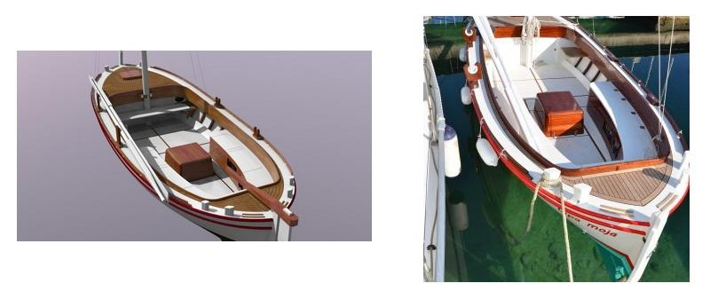Original 3D computer design compared with the finished boat - photo © Wessex Resins & Adhesives